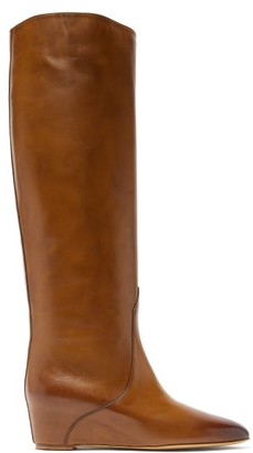 Gabriela Hearst Gustave Knee-high Wedge-heel Leather Boots - Womens - Tan