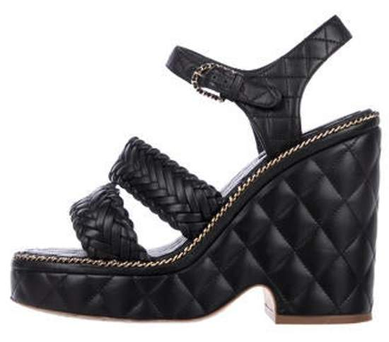 Chanel CC Quilted Wedge Sandals Black CC Quilted Wedge Sandals