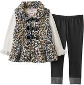 Little Lass Toddler Girl Cheetah Print Faux-Fur Vest, Tee & Jeggings Set