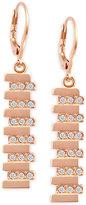 T Tahari Rose Gold-Tone Crystal Drop Earrings