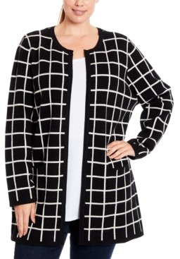Joseph A Plus Size Windwopane Open-Front Cardigan