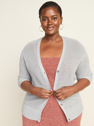Old Navy Textured Open-Knit Button-Front Plus-Size Cardigan