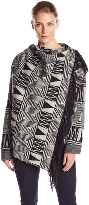 Heather B Women's Boiled Wool Aztec Fringe Jacket