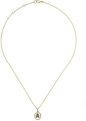 Annoushka 18kt yellow gold diamond initial A necklace