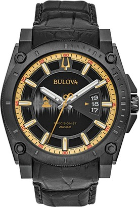 Bulova Special GRAMMY Edition Precisionist Black Embossed Leather Strap Watch