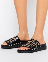 Pieces Luca Leather Buckle Slide Flat Sandals