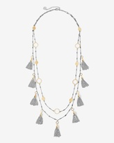White House Black Market Mixed Metal Double-Strand Tassel Necklace