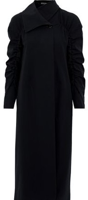 Jil Sander Ruched Wool-blend Gabardine Coat