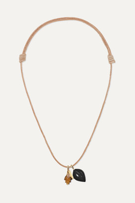 Dezso by Sara Beltrán Leather And 18-karat Rose Gold Multi-stone Necklace - one size