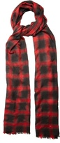Saint Laurent Checked wool, silk and cashmere-blend scarf