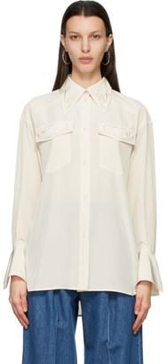 Mame Kurogouchi Off-White Crepe Embroidered Shirt