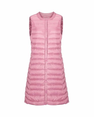 Aden Women's Ultra Light Sleeveless Gilet Button Quilted Mid-Long Puffer Down Vests Jacket