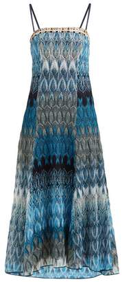 Missoni Metallic Leaf-knitted Midi Dress - Womens - Blue Multi