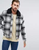 Asos Wool Mix Bomber Jacket in Brushed Check with Fleece Collar