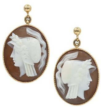 Stephanie Windsor Vintage 15K Yellow Gold & Carved Shell Cameo Earrings