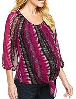 JCPenney Maternity 3⁄4-Sleeve Tie-Front Shirt