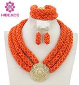 Hibeads 3 Rows Handmade Nigerian African Crystal Beads Jewelry Set Costume Bridal Necklace