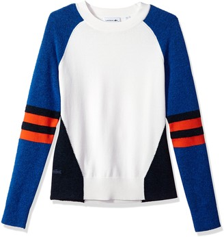 Lacoste Women's Heavy Jersey and Technical Yarn Colorblock Sweater
