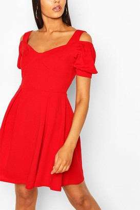boohoo Cold Shoulder Cup Detail Skater Dress