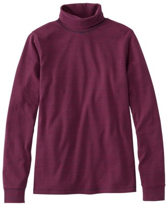 L.L. Bean Women's L.L.Bean Interlock Turtleneck, Long-Sleeve Stripe