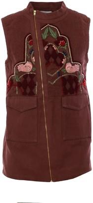 Imaima Rasha Hand-Embroidered Vest In Brown