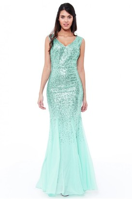 Goddiva Mint Sequin and Chiffon Maxi Dress