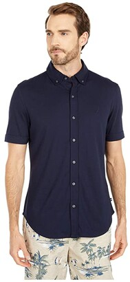 Nautica Button Front Jersey Polo (Blue) Men's Clothing