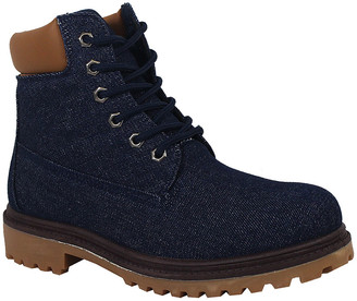 Yoki Women's Casual boots denim - Denim Smooth-Trim Tim Boot - Women