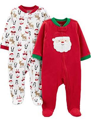Carter's Simple Joys by Baby 2-Pack Christmas Fleece Footed Sleep and Play