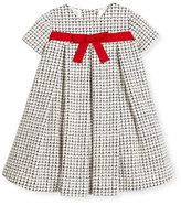 Helena Cap-Sleeve Pleated Textured Dress, Black/Ivory, Size 2-6