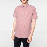 Paul Smith Men's Tailored-Fit Sky Blue and Red 'Lips' Print Short-Sleeve Shirt