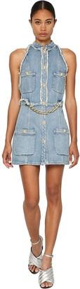 Balmain Cotton Denim Mini Dress W/ Chain Detail