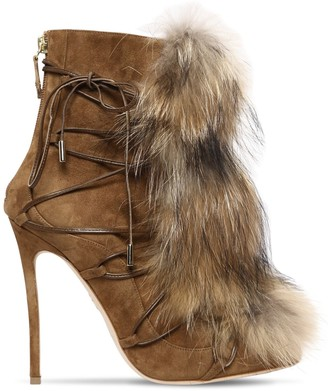 DSQUARED2 120MM RIRI SUEDE LACE-UP BOOTS W/ FUR