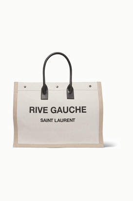 Saint Laurent Shopper Leather-trimmed Printed Canvas Tote - White