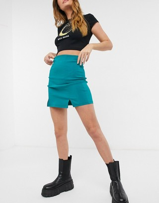 Topshop notch detail mini skirt in teal blue