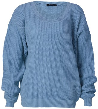 GirlsWalk Women's Plus Size Chunky Knitted Oversize Baggy Jumper Sweater Top - Blue - Medium Large = 12-14