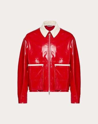 Valentino Blouson With Contrast Collar Man Red/ivory Elastane 3% 44