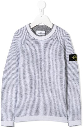 Stone Island Junior Logo Patch Knitted Sweater