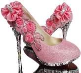 Monie Women's Pearl Glitter Bridal Shoes Wedding Dress Mid Heel Sandals 7B