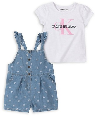 Calvin Klein Little Girl's 2-Piece Logo Graphic Cotton-Blend Tee Denim Shortalls Set