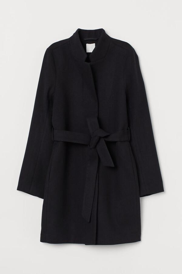 H&M Tie Belt Coat - Black