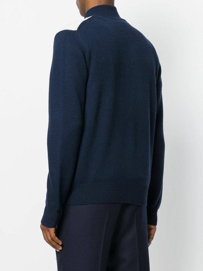 Ballantyne diamond print zipped cardigan