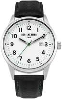 Ben Sherman Men's Quartz Metal and Leather Casual Watch, Color:Black (Model: WB065WB)