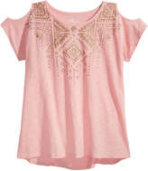 Epic Threads Geo-Print Cold-Shoulder Top, Big Girls, Created for Macy's