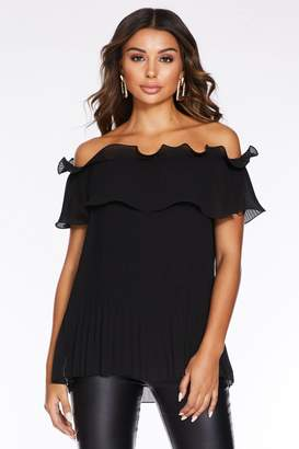 Quiz Black Pleated Double Layer Bardot Top