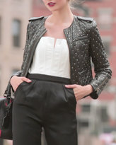 Alice + Olivia Siri Quilted Studded Leather Jacket