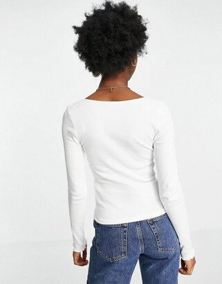 New Look ruched bust corset detail long sleeve top in off white