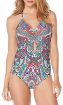 Laundry by Shelli Segal Women's Print Halter One-Piece Swimsuit