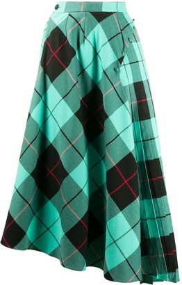 Charles Jeffrey Loverboy Asymmetric Tartan Skirt