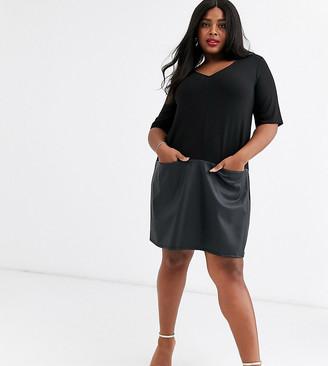 Asos DESIGN Curve shift dress with leather look hem-Black